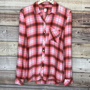 Gap Drapey Button Flannel Pale Beach Ombre Plaid
